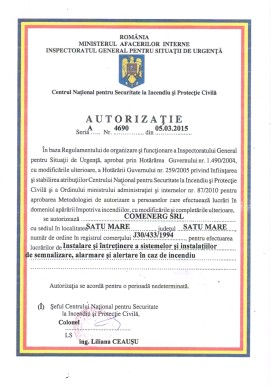 Certificare Semnalizare incediu 1
